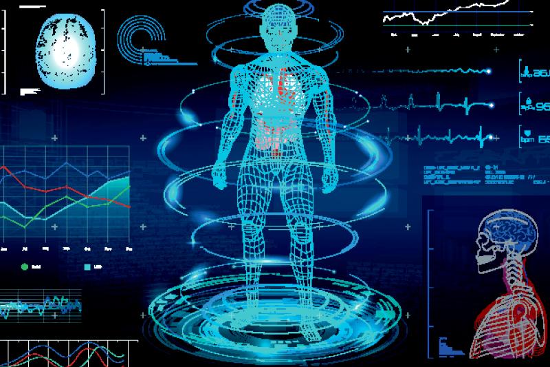 Teknisk skærmbillede med menneske og hjerne